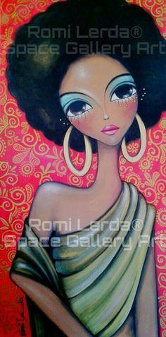 African American Art, African Art, Afro Art, Whimsical Art, Indian Art, Black Art, Love Art, Female Art, Art Girl