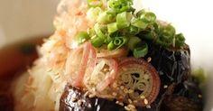 麺つゆの染みた揚げ茄子に、薬味をたっぷり。 さっぱりと夏のランチに♪
