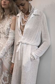 Naeem Khan Bridal / New York Bridal Fashion Week 2017 / Iridescent Bridal Jumpsuit with Pearls / Wedding Style Inspiration / The LANE