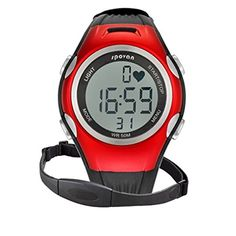 Sport Pulse Heart Rate Monitor Calories Counter Watches Chest Strap Color red * You can get additional details at the image link.