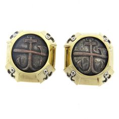 Marilyn Cooperman Gold Oxidized Silver Coin Earrings