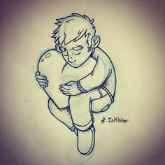 "Inktober // Day 4: ""Love is life"" - just a bit late... :) #inktober #ink #inktober2015 #sketch #sketchbook #love #life #cuddles #hugs"