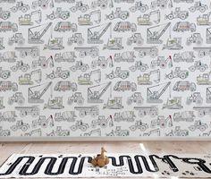 Construction wallpaper, Boys room wallpaper, Peel and Stick wallpaper, Construction truck decor, Rem