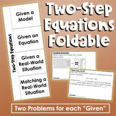 Solving Two-Step Equations Foldable Two Step Equations, Rational Numbers, Positive And Negative, Teacher Newsletter, Problem Solving, Student, Teaching, Education, Words