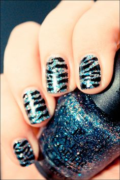 Simmer and Shimmer with nail art pen. Love all of the wild nails that are short enough to be practical and still fun!!