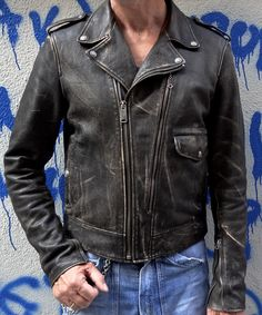 50's style distressed motorcycle jacket      https://www.facebook.com/pages/Thedi-Leathers/173951949357461