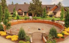 Stunning round pen that blends in with the home and its features