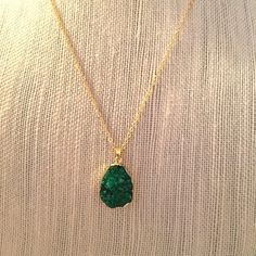 {Sale} Green Dusty Quartz Necklace with Gold Chain ✨Dusty Quartz Natural Stone Necklace in Green✨ GlamVault Jewelry Necklaces