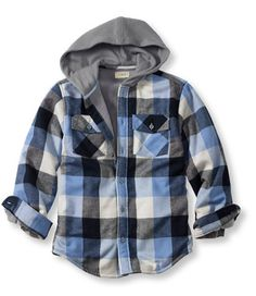 Boys' Fleece-Lined Hooded Flannel Shirt: Sweatshirts and Fleece | Free Shipping at L.L.Bean