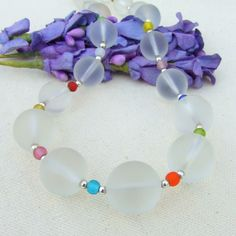 """The fun """"Calypso"""" handmade necklace features frosted white quartz and multi colored Czech glass - one of a kind jewelry. Quartz Necklace, Beaded Necklace, Handmade Necklaces, Handmade Gifts, The Ultimate Gift, White Quartz, Summer Jewelry, Handmade Design, Dog Design"""