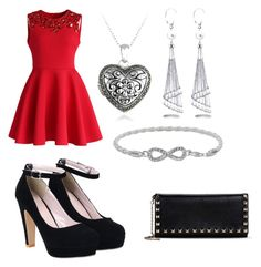 """""""First Date Outfit"""" by broken-angel123 ❤ liked on Polyvore featuring Chicwish, Glitzy Rocks, Allurez, Valentino, FirstDate, hearts, red, date and first"""