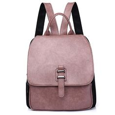 Pink Faux Leather Backpack With Handle (670 RUB) ❤ liked on Polyvore featuring bags, backpacks, brown bag, vegan bags, vegan backpack, brown handle bags and pink backpack