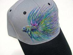 Handpainted Baseball Cap with Rainbow Betta Fish, Hat