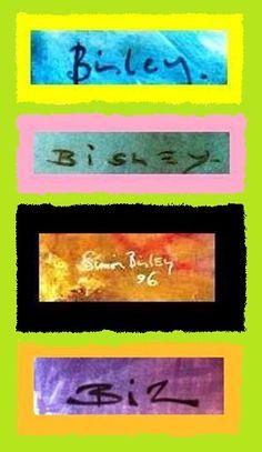 """Las distintas formas de firmar sus trabajos el Artista """"SIMON BISLEY""""."""