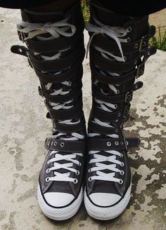 converse knee high boots. 2015 stylish knee high converse sneaker boots, straps top sneakers, lace up boots l
