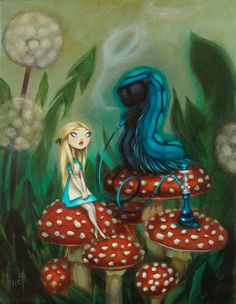 Advice From a Caterpillar - Alice in Wonderland acrylic on canvas by Krista Huot Lewis Carroll, Illustrations, Illustration Art, Caterpillar Alice In Wonderland, Art Fantaisiste, Chesire Cat, Alice Madness, Were All Mad Here, Adventures In Wonderland