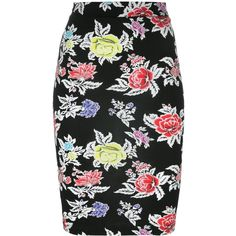 House Of Holland rose print pencil skirt ($115) ❤ liked on Polyvore featuring skirts, black, pencil skirt, house of holland, house of holland skirt, knee length pencil skirt and rose print skirt