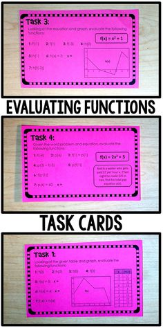 Evaluating Functions task cards: tables, graphs, equations, word problems. Evaluate, solve and compose.