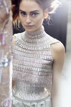 backstage at Chanel HTC SS2014 PFW