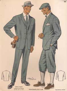 Vintage Men's Fashion print, Make Ryan wear knickers! I'll have my camera ready, cuz I'm sure he'd rock this look! 1950s Fashion Menswear, Retro Fashion, Vintage Fashion, Mens Fashion, Suit Fashion, Formal Fashion, Vintage Gentleman, Vintage Man, 1950s Style
