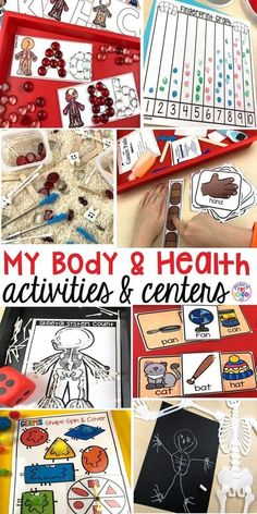 My Body themed centers and activities (FREEBIES too)! Preschool, pre-k, and kindergarten kiddos will love these centers. #mybodytheme #healththeme #preschool #prek Exercise Activities, Health Activities, Hands On Activities, Craft Activities, Dementia Activities, Preschool Body Theme, Preschool Science, Science Ideas, Science Experiments