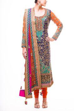 Midnight Blue Kabbalah Pakistani Style Suit