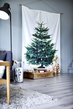 Ikea Fabric~ If you don't have room for a Xmas tree, here's one solution. Alternative Christmas Tree, Diy Christmas Tree, Christmas Is Coming, Christmas Love, Xmas Tree, All Things Christmas, Winter Christmas, Merry Christmas, Christmas Decorations