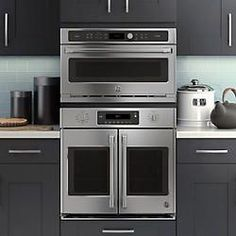 Inspired by commercial kitchen designs, this french-door wall oven is sure to channel your inner chef. Kitchen Pantry, New Kitchen, Kitchen Dining, Kitchen Decor, Kitchen Ideas, French Door Wall Oven, French Doors, Kitchen Gadgets, Kitchen Appliances