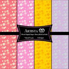 Floral Digital Paper Cherry Blossom Digital Paper by ArtistaQ8, $7.00