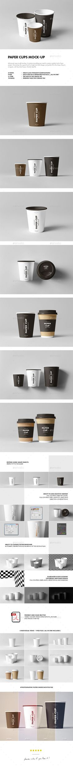 Paper Cups Mock-up by yogurt86 PAPER CUPS MOCK-UP Advanced, easy to edit mockup. It contains everything you need to create a realistic look of your project. Gua