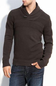 shawl collar sweater w/ texture stripe