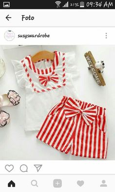 Girls baby Infants children kids roupas princess Bow Ruffles sleeve t-shirt tops+Striped short pants clothing sets Sewing Kids Clothes, Baby Sewing, Doll Clothes, Baby Girl Fashion, Kids Fashion, Baby Dress Design, Frocks For Girls, Little Girl Dresses, Kind Mode