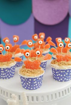 Cute DIY Mermaid Party Ideas for the perfect Mermaid themed pool party. Make adorable crab cupcakes and other Mermaid Party Food Ideas. Mermaid Party Food, Mermaid Diy, Mermaid Parties, Mermaid Beach, Birthday Table, Birthday Parties, Birthday Stuff, Birthday Ideas, Diy Craft Projects