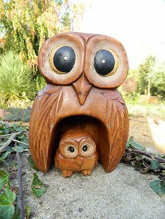 Wooden Owl Carving - Hand Carved Mother and Baby Owl