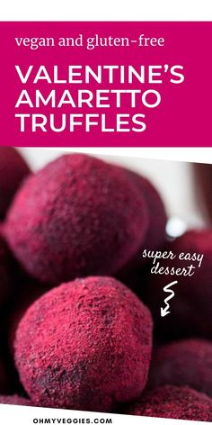 This easy vegan Valentine's Day dessert is sure to be a crowd pleaser. These delicious amaretto and chocolate truffles are completely vegan and gluten free too! #chocolate #valentinesday #dessert #vegan Vegan Baking Recipes, Cookie Recipes, Valentines Day Desserts, Chocolate Truffles, Easy Desserts, Crowd, Sweet Treats, Gluten Free, Recipes For Biscuits