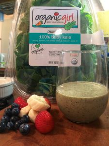 peanut butter green smoothie with #organicgirl #babykale-Never thought to add peanut butter-definitely will now!