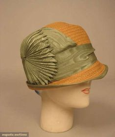 Straw Cloche with Celadon Green Cockade, 1920s.