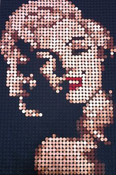 Marilyn Monroe mosaic made from pennies now at Art Rebellion