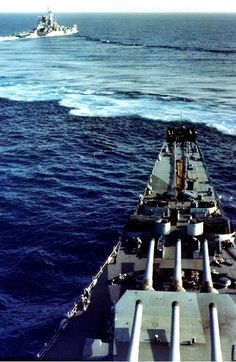 Heavy cruiser USS Alaska (CB-1) maneuvering ahead of battleship USS Missouri (BB-63), Atlantic, 1944.