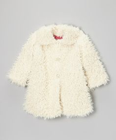 Look what I found on #zulily! Cream Shag Sweet Pea Coat - Infant, Toddler & Girls by Corky & Company #zulilyfinds