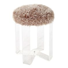 c.1950  Vintage four leg vanity stool upholstered in chocolate and cream lamb.This item may be purchased on ecofirstart.com