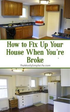 Our first house was a bit of a fixer upper. We did some major DIY projects to fi… Our first house was a bit of a fixer upper. We did some major DIY projects to fix it up. O, and we were super broke, so we did it all on a tight budget…. Diy Kitchen Remodel, Kitchen Redo, New Kitchen, Kitchen Ideas, Basement Kitchen, 1970s Kitchen, Rental Kitchen, Kitchen Designs, Redoing Kitchen Cabinets