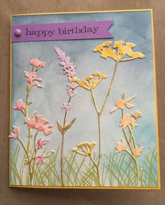 love to watercolor with distress markers...especially on these wildflower die cuts! #timholtz #sizzix #handmadecards #nana's92