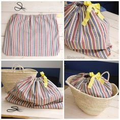 Beach basket with inner fabric bag Diy Sac, Home Sew, Tapestry Bag, Diy Purse, Creation Couture, Arm Knitting, Handmade Bags, Diy For Kids, Diy Clothes