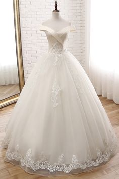 DelicateTulle Off-the-shoulder Neckline Ball Gown Wedding Dress With Beaded Lace. - Lace Wedding Dresses DelicateTulle Off-the-shoulder Neckline Ball Gown Wedding Dress With Beaded Lace. Princess Wedding Dresses, Wedding Dress Styles, Dream Wedding Dresses, Bridal Dresses, Wedding Gowns, Prom Gowns, Modest Wedding, Wedding Venues, Wedding Ideas
