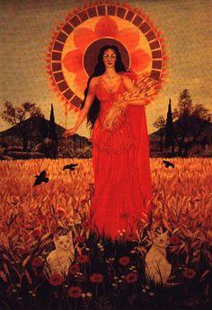 Demeter~ Greek Goddess of Grain, Fertility, and Agriculture~ Mother of Persephone Mother Of Persephone, Mother Goddess, Ceres Goddess, Goddess Art, Greek And Roman Mythology, Goddess Costume, Divine Mother, Sacred Feminine, Gods And Goddesses