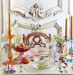 Tablescape with Venetian glass by Federico De Vera