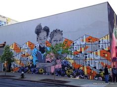"""Invent the Future"" mural in Bushwick, Brooklyn, New York - photo from blocal-travel; collective art"