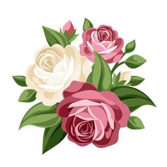 Illustration of Pink and white vintage roses Vector illustration vector art, clipart and stock vectors. Vintage Rosen, Vintage Diy, Vector Flowers, Flower Clipart, Rose Vector, Rose Clipart, Elegant Flowers, Vintage Flowers, Art Floral