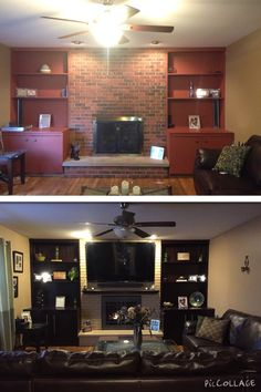 Fireplace makeover......gel stained built ins & painted brick !!!!